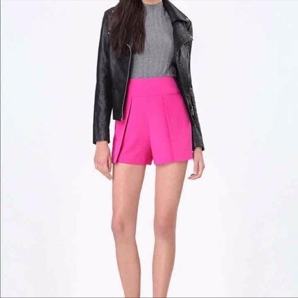 Bebe Pink Crepe Flap Overlay Shorts